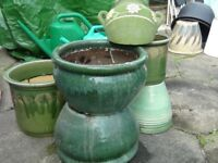 GREEN GLAZED PLANT POTS