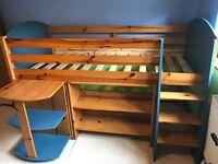 Child's Cabin Bed with desk, shelves & den