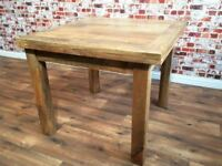 Extendable Folding Dining Table with Square Legs - Solid Hardwood - Two Sizes Available