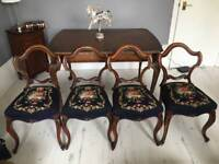 Antique mahagony dark blue kneedlepoint dining chairs