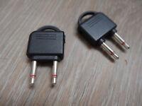 Headphones, earphones airplane adapter x2