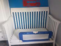 Childrens white sleigh cot bed incl mattress