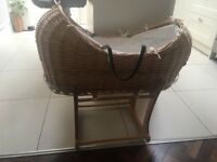 Wicker Moses Basket with Rocking Stand