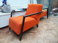 Two Modern Orange One Deko Armchairs