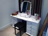 HAND PAINTED PINE DRESSER WITH STOOL AND FREE STANDING MIRROR