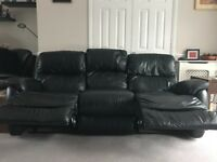 Large 3 Seat Leather Sofa with 2 recliners