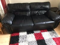 3 SEATER BLACK LEATHER COUCH / SOFA