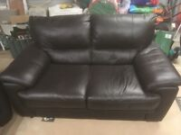 Sofa set - 3 Seater, 2 Seater and Storage Foot Stool - Dark Brown Leather