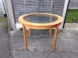 DINING TABLE - Solid Oak with inlaid glass top - Seats 4