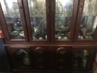 Solid cherry wood display cabinet, shelves, drawers