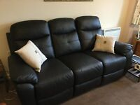 "Excellent condition Harvey's ""maple"" 3 seater sofa, 2 leg rest action. Espresso faux leather"