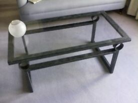 Italian metal coffee table with glass top