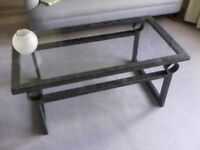 Italian metal coffee table with glass top