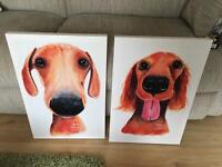 Two dog canvases