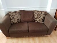 Brown Fabric 3 seater and 4 seater sofas