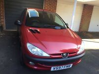 Low mileage Peugeot 206 GLX, Only 49000 miles, Metallic Cherry 1.3 Petrol, Excellent condition,