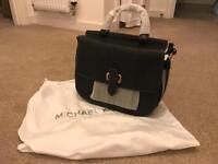 New Michael Kors Black Leather Messenger Bag