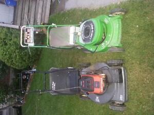 2 serviced lawnmowers,