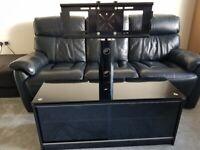 Pivoting Floating TV Stand - 4 shelves & glass sliding doors
