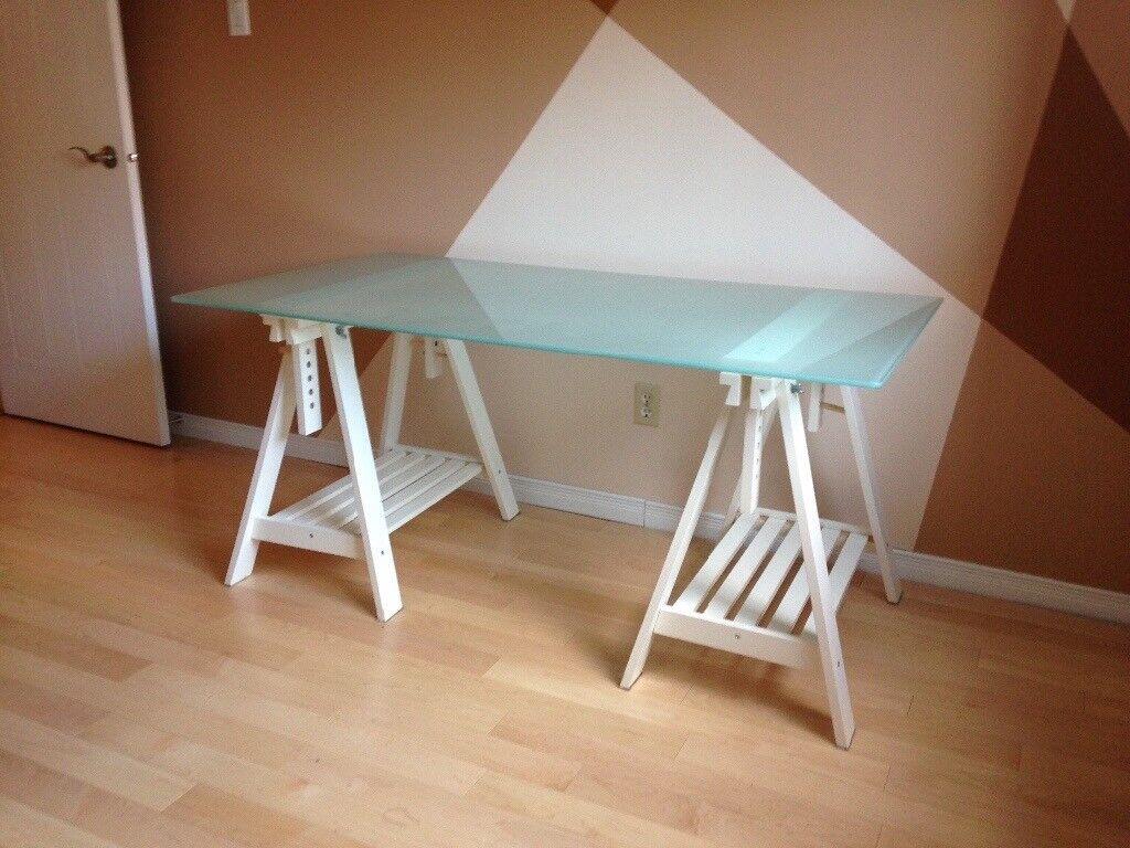 Ikea Glass Table Desk With White Trestle Legs