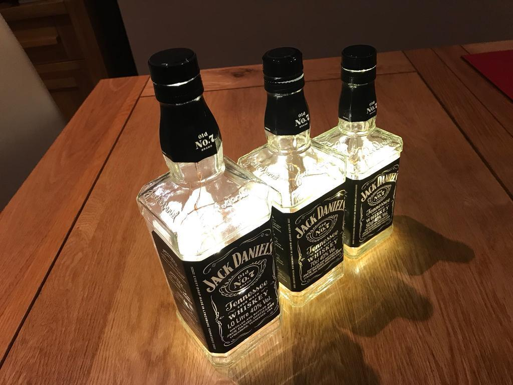 Jack Daniels Bottle Light Lamp copper wire Battery Operated Various Sizes