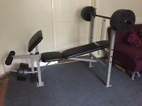 Pro Fitness Weights Bench w/ 30kg Weights