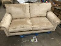 Gold 2 seater cloth upholstered sofa