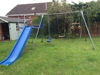 TP climbing frame with platform, slide, swing, baby swing, skyride and hoops