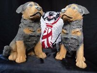 2 Vintage Small English Stone Animal Rottweiler Guard Dog Pup Garden Statues