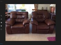 2 leather armchairs (one is recliner) excellent condition