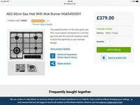 AEG gas hob, brand new, never been used, bought from Wickes, Price was £379