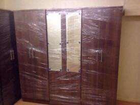 BROWN WARDROBE WITH MIRRORS (ready assembled)