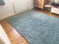 Duck egg blue thick rug (John Lewis)