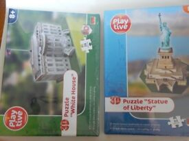 2 NEW Play tive 3D Puzzle WHITE HOUSE 36 pieces and Statue of Liberty 33 pieces