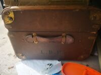 Brown leather vintage suitcase 1940