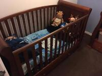 Babies R Us Sleigh Cot bed and Dresser Baby Change Unit in Dark Wood Cotbed