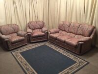 3 Piece Suite - High Wing back 3 Seater Sofa & 2 Armchairs