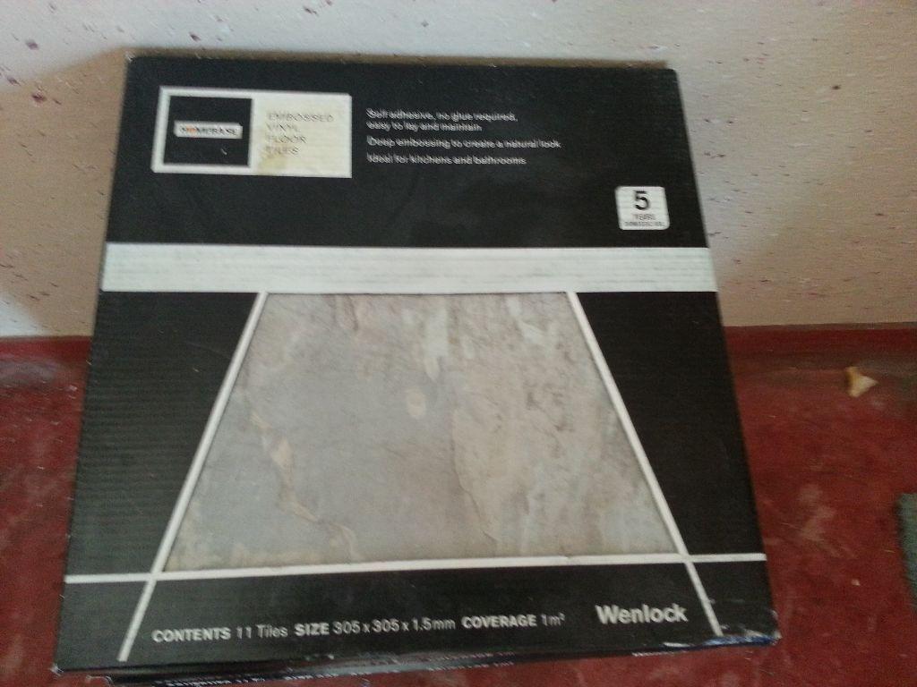 Homebase grey marble effect stick on vinyl floor tiles 24 for Grey tile effect vinyl flooring