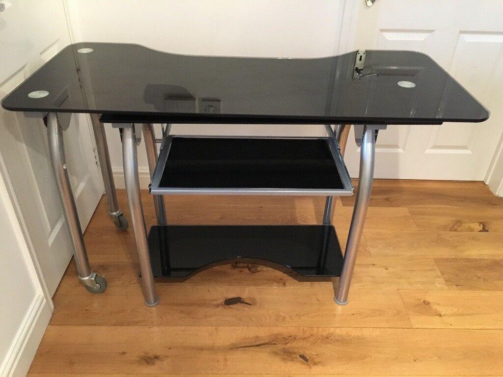 L Shaped Corner Black Glass Metal Computer Desk Home Office Workstation