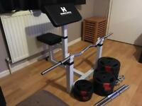 Preacher bicep arm curl bench, and weights
