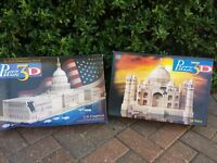 3D puzzles of The White House and Taj Mahal