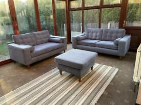 John Lewis® 3 + 2 Seater Sofas + Footrest Contemporary Sky Blue Cost £2698 6 Months Old