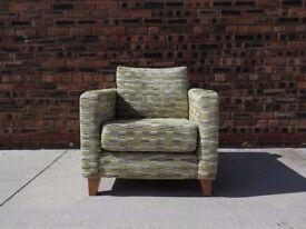 Green/Grey/Cream NEXT Geometric Print Armchair Chair