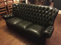 Chesterfield suite bottle green