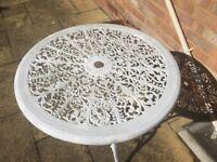 White Cast iron garden table