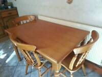 OAK KITCHEN TABLE AND 3 CHAIRS