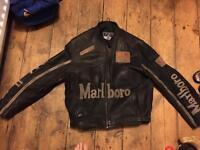 Men's leather motorcycle Marlboro Racing jacket