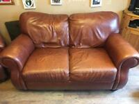 Tan leather two seater sofa & two single seaters
