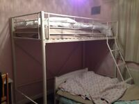 Almost new, High rise bed for sale in white. Perfect for small spaces or children sharing bedroom.