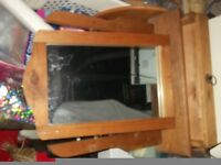 Pine dressing table mirror with draw